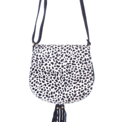 Leren-Schoudertas-Tassles-Animal Cheeta