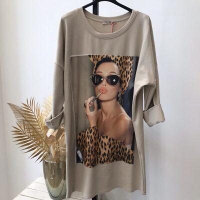 Sweaterdress Leopard Kisses beige nude lange sweaters met trendy print lange mouwen fashion kopen