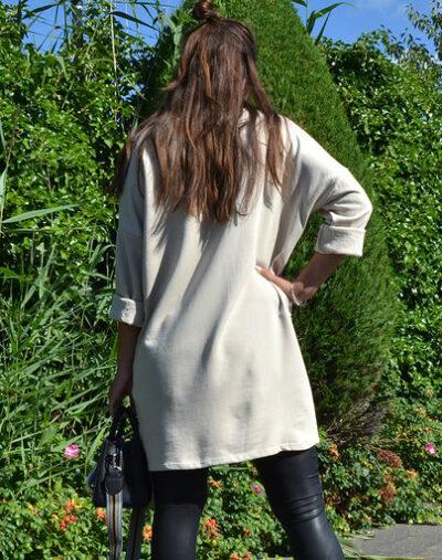 Sweaterdress Tiger Girl beige lange truien half lange mouwen trendy print kopen