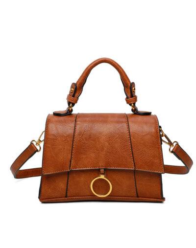 Handtas Trendy Ring bruin bruine tas kopen trendy tassen goud beslag bestellen