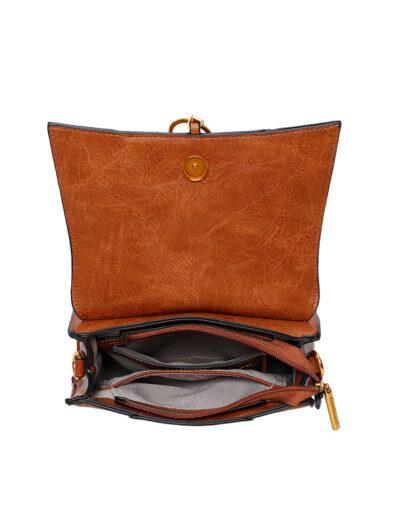 Handtas Trendy Ring bruine mooie tas kopen trendy tassen goud beslag bestellen