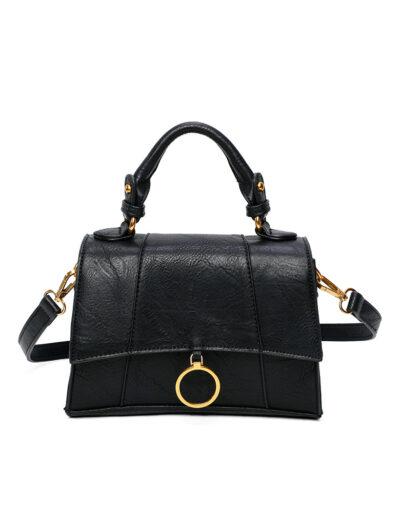 Handtas Trendy Ring zwart zwarte tas kopen trendy tassen goud beslag bestellen