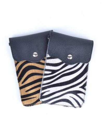 Leren Telefoontasje Animal Zebra bruin wit kleine leren schoudertassen vacht kopen