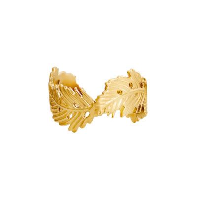 Ring Wavy Leaf gouden goud open ringen