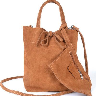 Suede Mini Shopper Simple bruin bruine leren tasjes koordje etui kopen
