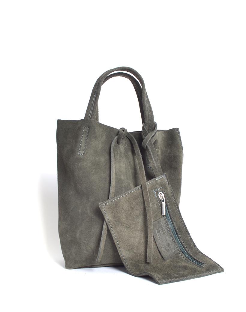 Suede-Mini-Shopper-Simple- groen groene kleine leren-mini shoppers tasjes-koordje-etui-kopen giuliano leder