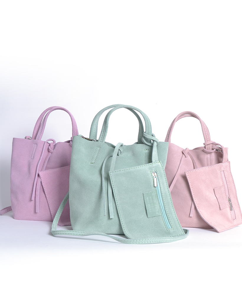 Suede-Mini-Shopper-Simple-lila mint roze kleine leren-mini shoppers tasjes-koordje-etui-kopen giuliano leder
