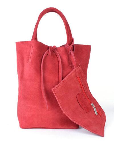 Suede Mini Shopper Simple rood rode leren tasjes koordje etui kopen