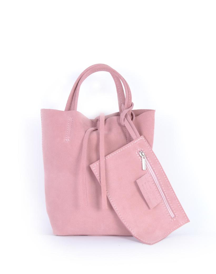 Suede-Mini-Shopper-Simple- roze kleine leren-mini shoppers tasjes-koordje-etui-kopen giuliano leder