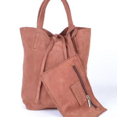 Suede Mini Shopper Simple roze pink leren tasjes koordje etui kopen