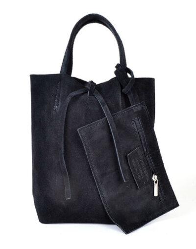 Suede Mini Shopper Simple zwart zwarte leren tasjes koordje etui kopen