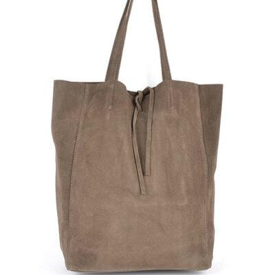 Suede-Shopper-Simple-Taupe ruime leren shoppers koordje trends kopen