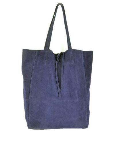 Suede-Shopper-Simple-blauw blauwe ruime leren shoppers koordje kopen