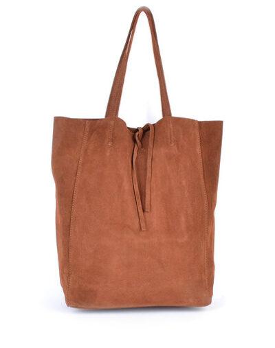 Suede-Shopper-Simple-bruin bruine ruime leren shoppers koordje kopen