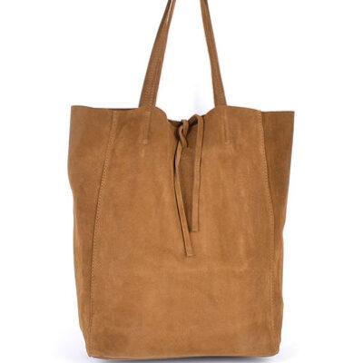 Suede-Shopper-Simple camel ruime leren shoppers koordje kopen trendy