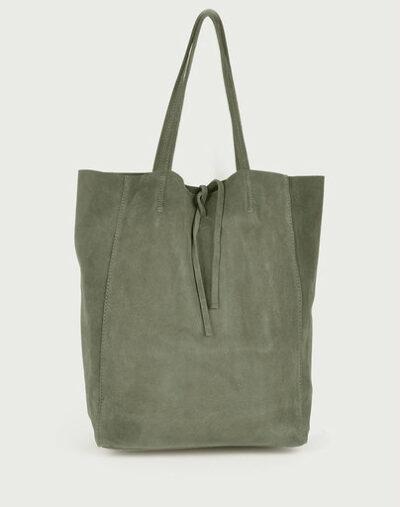 Suede-Shopper-Simple-groen groene ruime leren shoppers koordje kopen
