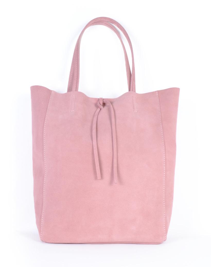 Suede-Shopper-Simple-roze pink ruime leren suede shoppers koordje trends kopen giuliano tassen kopen
