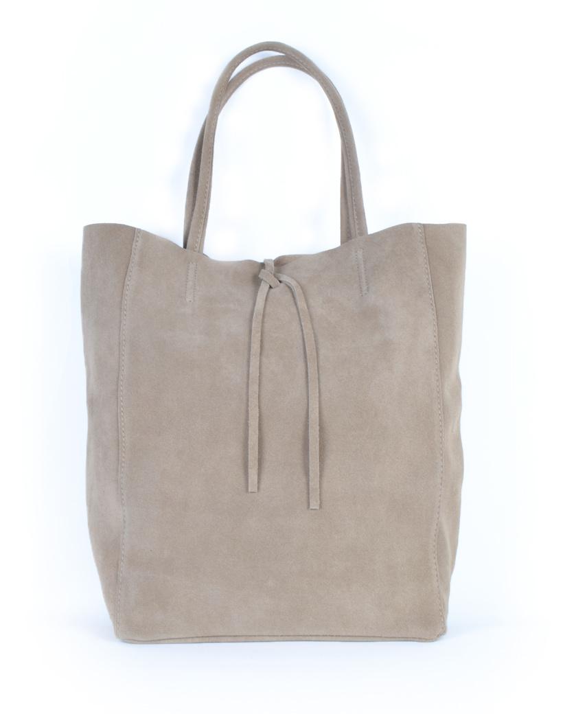 Suede-Shopper-Simple-taupe ruime leren suede shoppers koordje trends kopen giuliano tassen kopen