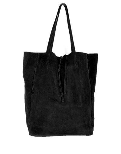 Suede-Shopper-Simple zwart zwarte ruime leren shoppers koordje kopen