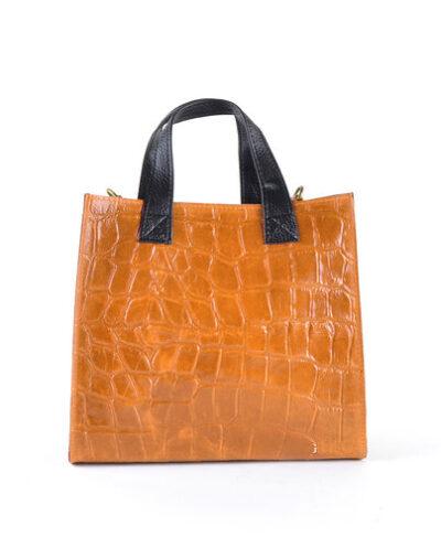 Vierkante Leren Handtas Croco camel tassen kopen