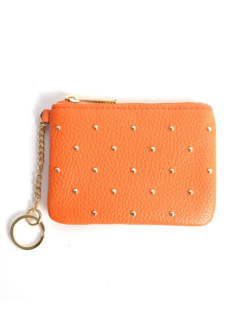 Leren Portemonnee studs oranje orange kleine handige etui met gouden studs voor broeken kopen bestellen