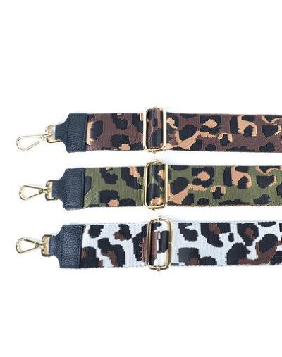 Leren-Schouderband-Happy Panter leopard-print-groen bruin wit losse-lederen leer schouderbanden-tassen-hengsel kopen-bestellen-