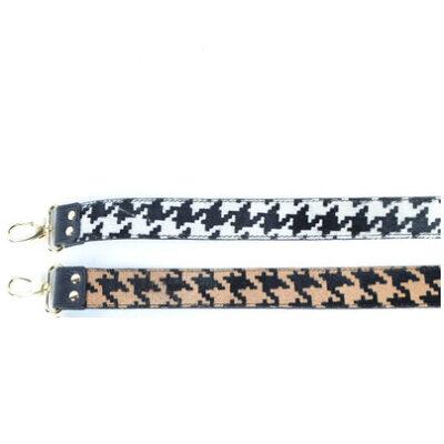 Leren-Schouderband-Pied de Poule taupe- wit print-koeienvacht losse-lederen leer schouderbanden-tassen-hengsel kopen-bestellen-