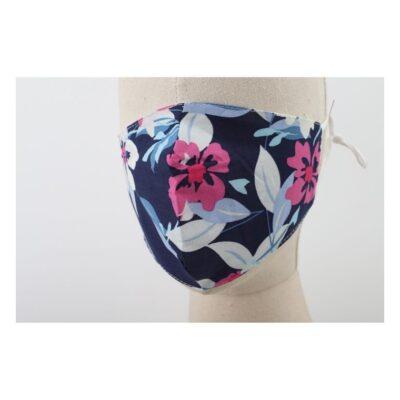 Mondkapje Flowers Blauwe met roze gele bloemen trendy-leuke-gekleurde mondkapjes-voor-dames-mondmaskers-kopen-bestellen