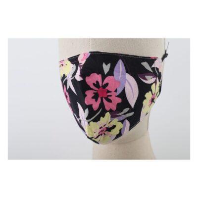 Mondkapje Flowers Zwart met roze gele bloemen trendy-leuke-gekleurde mondkapjes-voor-dames-mondmaskers-kopen-bestellen