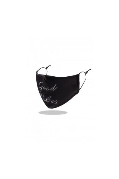 Mondkapje Good Vibes zwart zwarte trendy-leuke-mondkapjes-voor-dames tekst good vibes -mondmaskers-kopen-bestellen