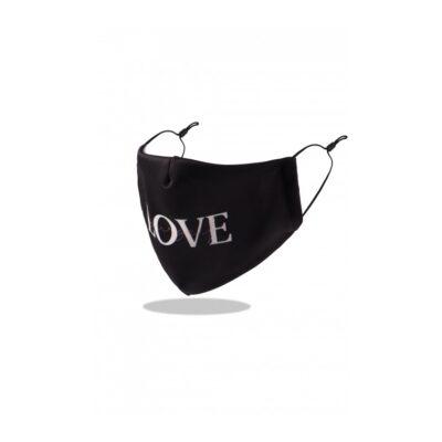 Mondkapje Love zwart zwarte trendy-leuke-mondkapjes-voor-dames tekst liefde -mondmaskers-kopen-bestellen