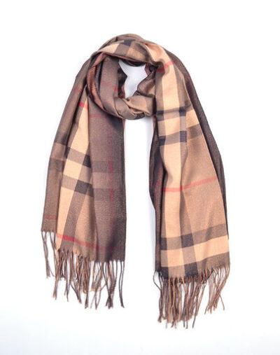 Sjaal Berry taupe bruine dames glans sjaals look a like trendy winter sjaals omslagdoeken gouddraad kopen bestellen