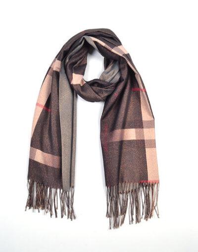 Sjaal Berry zwart bruine dames glans sjaals look a like trendy winter sjaals omslagdoeken gouddraad kopen bestellen