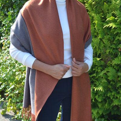 Sjaal Double Rust roest grijs grijze 2 kleurige dames sjaals fringe kopen bestellen trendy warme winter sjaals kopen