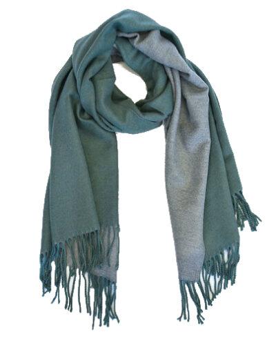 Sjaal Double groen groene grijs grijze 2 kleurige dames sjaals fringe kopen bestellen trendy warme winter sjaals kopen