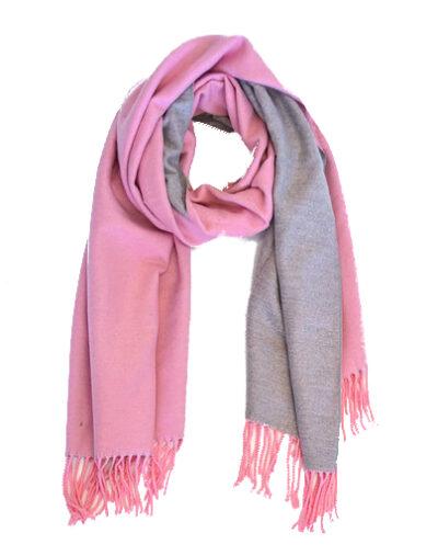 Sjaal Double roze pink grijs grijze 2 kleurige dames sjaals fringe kopen bestellen trendy warme winter sjaals kopen