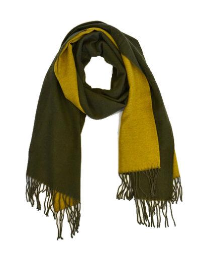 Sjaal Double zwart zwarte geel gele 2 kleurige dames sjaals fringe kopen bestellen trendy warme winter sjaals kopen