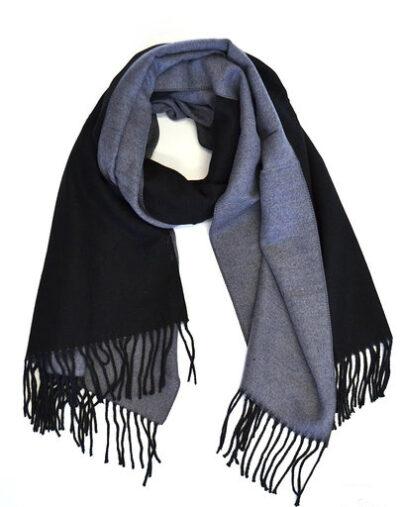 Sjaal Double zwart zwarte grijs grijze 2 kleurige dames sjaals fringe kopen bestellen trendy warme winter sjaals kopen