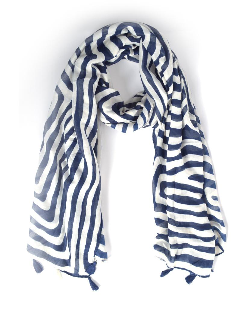Sjaal Stripes blauw met wit gestreepte lange sjaals met kwastjes trendy dames omslagdoeken kopen bestellen