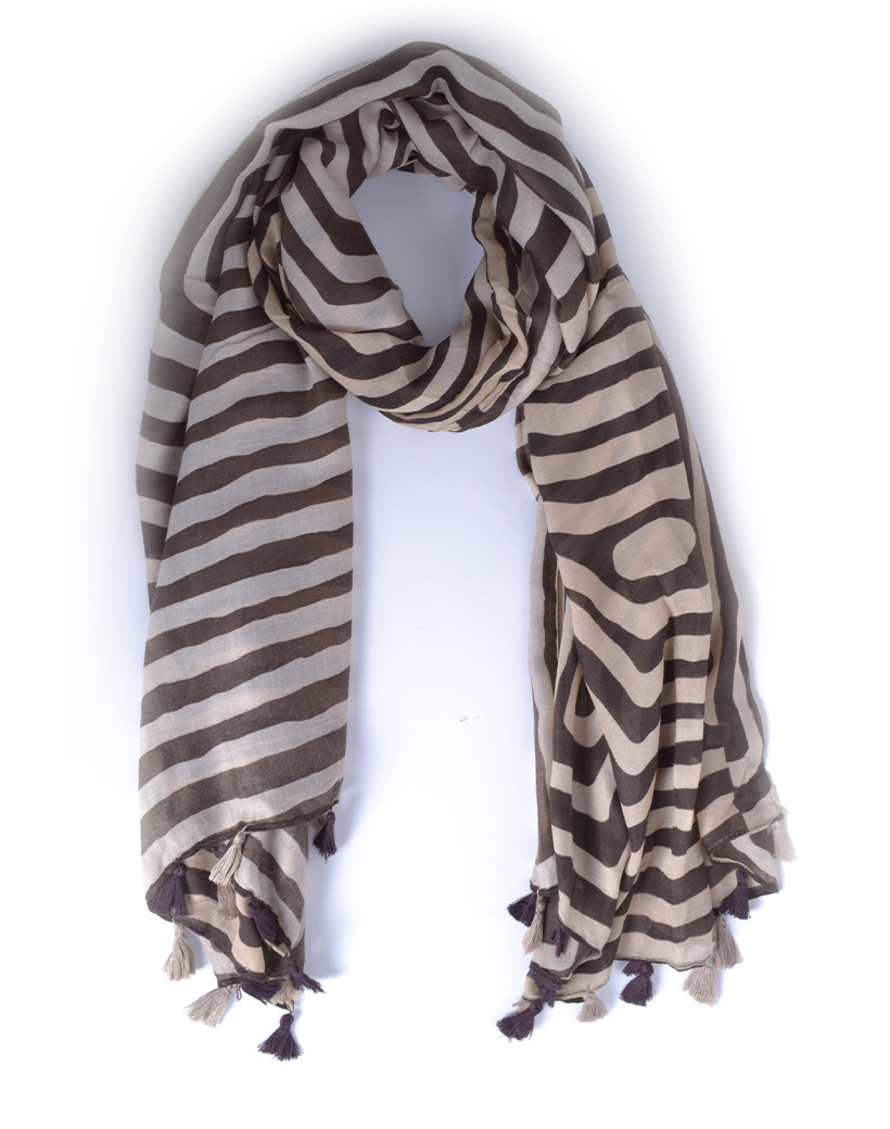 Sjaal Stripes bruin met wit gestreepte lange sjaals met kwastjes trendy dames omslagdoeken bestellen kopen