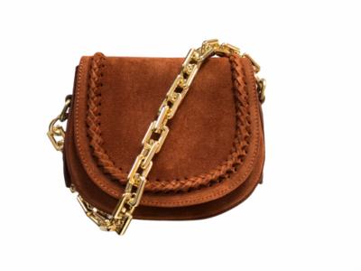 Suede tas half rond braided bruin tassen hengsel big gold chain kopen bestellen fashion losse tassenbanden