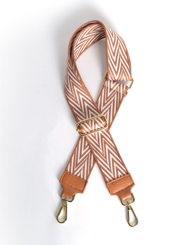 Tassenhengsel VIV bruin met wit gekleurde bagstraps shoulder strap losse tassen hengsels kopen fashion giuliano kopen bestellen