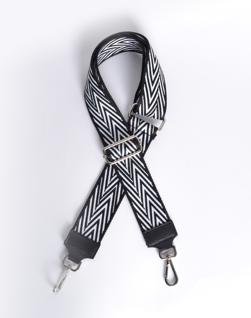 Tassenhengsel VIV zwart met wit gekleurde bagstraps shoulder strap losse tassen hengsels kopen fashion giuliano kopen bestellen
