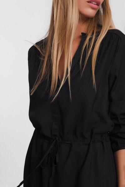 Zwarte Jurk Fashion Must zwart dames Overhemdjurk lange mouwen getailleerd trendy kleding