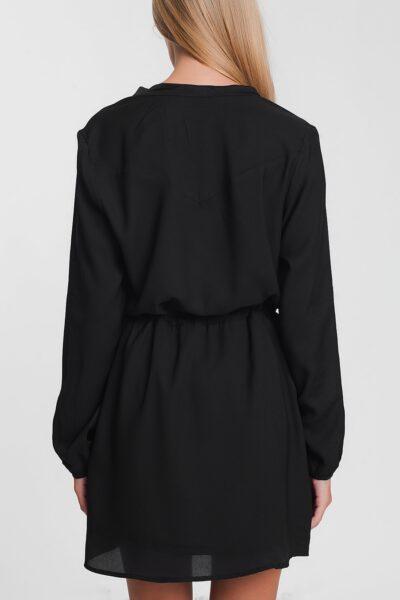 Zwarte Jurk Fashion Must zwart dames Overhemdjurk lange mouwen getailleerd trendy kleding bestellen kopen achterkant