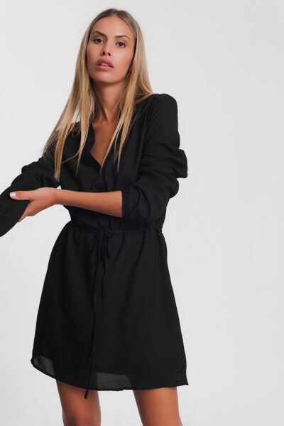 Zwarte Jurk Fashion Must zwart dames Overhemdjurk lange mouwen getailleerd trendy kleding kopen bestellen