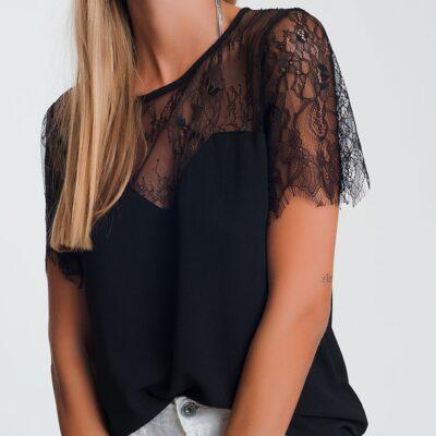Zwarte Top Lovely Lace zwart dames truitjes kanten bovenkant kant sexy dames fashion bestellen kopen