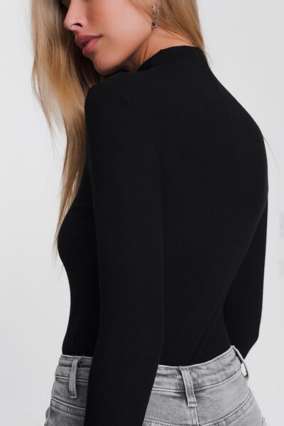 Zwarte Trui Favorite zwart zwarte strakke coltruien trendy dames truitjes tops lange mouwen bestellen kopen