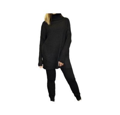 Comfy Rib Twinset zwart zwarte coltrui en legging warme lounge wear lounge kleding trendy fashionmusthaves