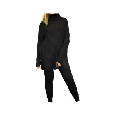 Comfy Rib Twinset zwart zwarte coltrui en legging warme lounge wear lounge kleding trendy fashionmusthaves
